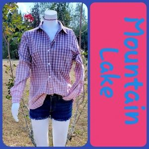 Custom Bleached Ladies Plaid Shirt Size Small